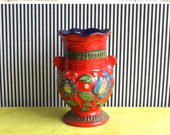 "Summersale Vintage West German Pottery Handled Vase In Red and Deep Blue with the Floral Decor ""Napoli"" By BAY Keramik"