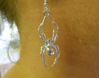 Solid Sterling Silver Spider Dangle Earrings