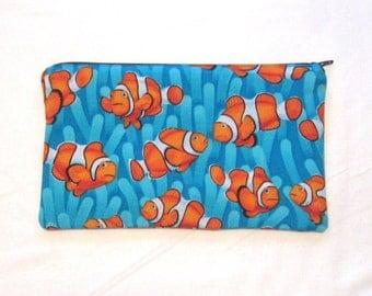 Clownfish Fabric Zipper Pouch / Pencil Case / Make Up Bag / Gadget Sack