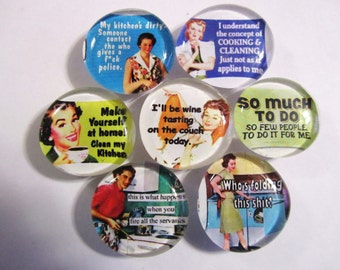HOUSEWORK is EVIL Set of 7 Cute and Kitschy Glass Magnets