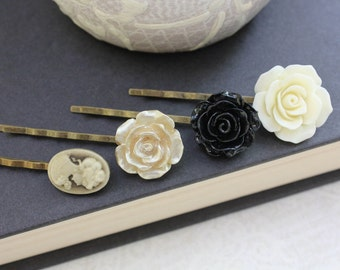 Black Rose Bobby Pins Gold Rose Cameo Floral Hair Accessories Ivory Cream Rose Hair Pin Flower Hair Clips Bridesmaids Gift Stocking Stuffers