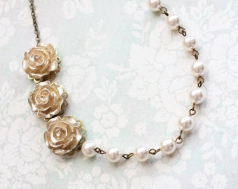 Gold Rose Necklace Asymmetrical Necklace Bridesmaids Jewelry Pearl Chain Ivory Cream Pearls Floral Holiday Jewelry Christmas Party