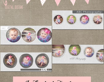 Facebook Timeline Circle Round Gray Damask Set of 4 Cover Collage Photographer Template PSD - Photo INSTANT DOWNLOAD cs and Elements