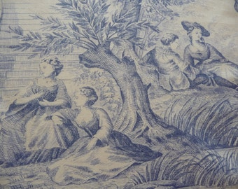 vintage  french toile de jouy  blue  /white french fabric
