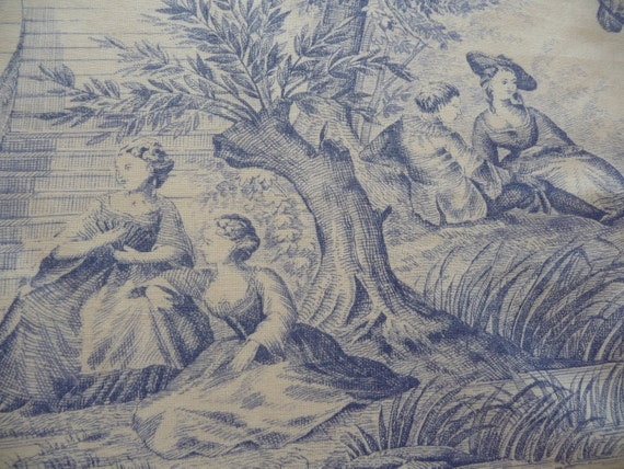 Vintage french toile de jouy blue white french fabric - Papel pintado toile de jouy ...