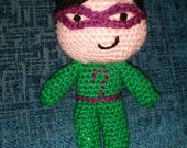 "crochet doll the riddler DC comics  6"" sci-fi geek retro gift vegan comic amigurumi handmade green question"