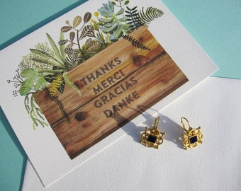 Roman Gold plated Earrings with Blue Square center piece