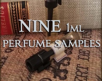 NINE Perfume Samples / 1ml perfume sample / Choose your Scents / Vegan perfume oil
