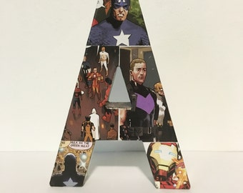 The Avengers Letter A, Small Comic Book Letter 6 Inch, Pop Art, Ready To Ship