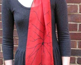 Pyramidal Neuron  Silk Chiffon Scarf - Red