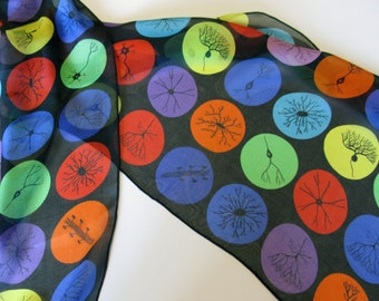 Neuron Dots Silk Chiffon Scarf - multicolor on black