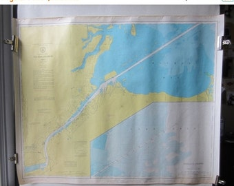 """ON SALE Vintage Map Toledo Harbor - Lake Erie - Maumee Bay - Great Lakes - US Army Us Lake Survey- Yellow &  Blue 1973 - No. 374 - 40"""" x 30"""""""