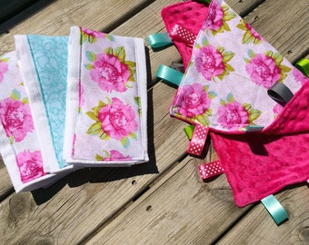 Pink and Grey Flower Baby Shower Gift, Burp Cloth and Tag Blanket Set