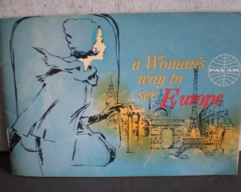 Vintage Mid Century Pan Am Airlines - A Woman's Way To See Europe