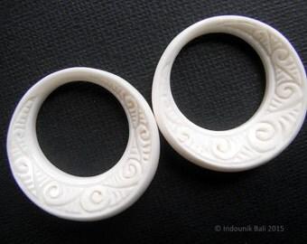 Ni Luh Balinese Hoop Beads in Carved Bone Earring Pair 30mm Jewelry Supplies