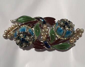 Stunning Coro Quivering Camillias Duette Trembler by Adolph Katz Pin Brooch Fur Clips Blue Pearl