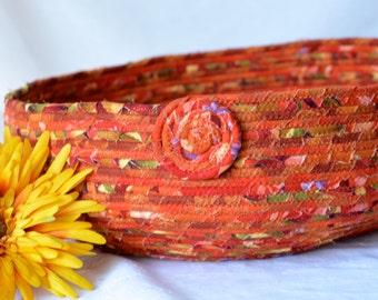 Autumn Fiber Basket, Handmade Peach Decorative Bowl, Napkin Basket, Southwestern Basket, Lovely Fall  Basket