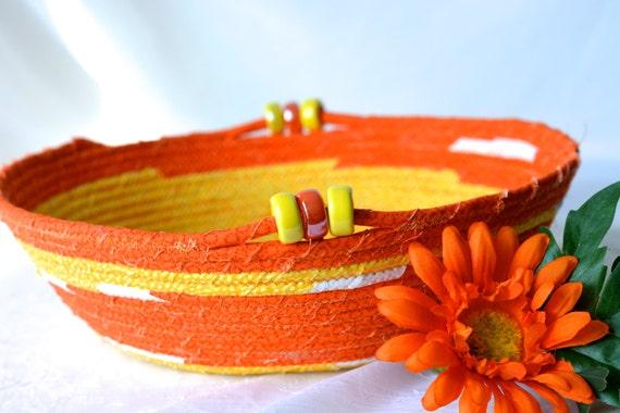 Halloween Decoration, Handmade Fiber Bowl, Candy Corn Basket, Fun Orange Fabric Basket, Cute Bath Decor, Fall Candy Dish