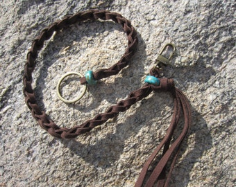 Men's Long Key Chain Fob Holder Tassel Keychain Lanyard, Black / Brown Suede Leather Cord Turquoise Beads Gift Boxed
