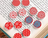 12PCS (6 pairs) 16mm 20mm  Round Handmade Image  Wood Cut Cabochon - (WEH-MIXSS-29)