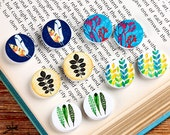 10PCS (5 pairs) 16mm 20mm  Round Handmade Image leaves Wood Cut Cabochon - (WEH-MIXSS-33)