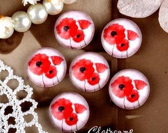 10PCS 12mm 20mm 25mm 30mm ( 25mm Flat )Handmade Photo Glass Cabochon -Image Glass Cabochon- Flowers- (HPGC-69-6)