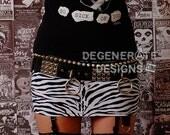 Zebra PUNK Skirt Animal Print Street Punk Rock Clothing Rock n Roll Mini Skirt 80s Rocker Glam Rock Hair Metal Skirt Streetwear XS - XXL