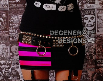 Hot Pink and Black Striped Split PUNK Skirt Punk Rock Clothing Rock n Roll Mini Skirt 80s Rocker Glam Rock Hair Metal Split Skirt XS - XXL