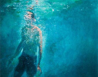 Art Print It will Break You Open - Giclee Print of original painting of man rising among bubbles in the ocean
