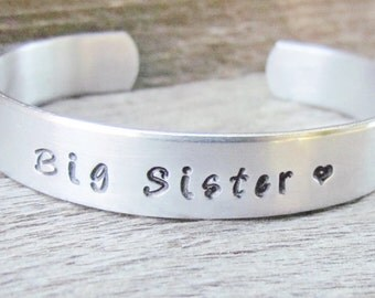 Bracelet BIG SISTER Hand Stamped Jewelry Cuff Quote Personalized Sisters New Siblings Gift Toddler Children's Sizes 12g Thicker Metal