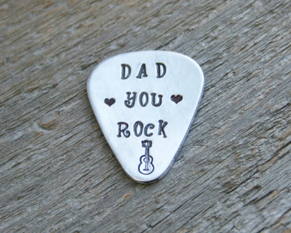 Guitar Pick DAD YOU ROCK Gift Hand Stamped Thick Sturdy Aluminum Metal Guitarist Boyfriend Husband Personalized  Custom Stamping