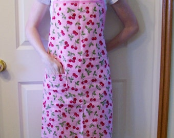 Woman's Full Apron in Pink with Cherries, Butcher Apron, Womens Apron