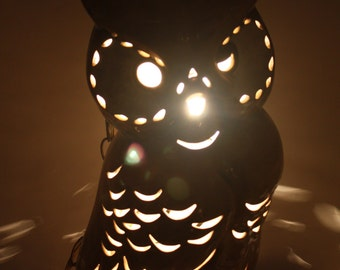 Vintage Ceramic Owl Pendant Hanging Table Lamp Light Large Spooky Halloween Decor Halloween Party 70s Hippie BoHo Lodge Decor