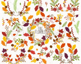 Thanksgiving Flower Clipart Clip Art, Thanksgiving Autumn Fall Laurel Wreath Leaf Clip Art Clipart - Commercial and Personal Use