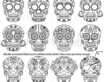Day of the Dead Skull Clipart Clip Art, Sugar Skulls Digital Stamps Clipart Clip Art Vectors - Commercial and Personal Use