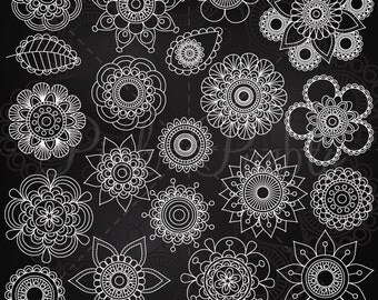 Chalkboard Doodle Flowers Clipart Clip Art 2, Chalk Doodle Mandala Clip Art Clipart Vectors - Commercial and Personal Use