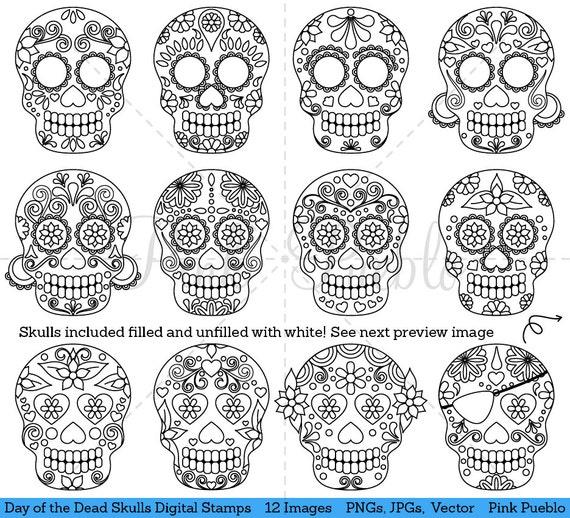 Day of the Dead Skull Clipart Clip Art, Sugar Skulls ...