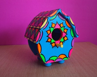 Mini-Size Handpainted Birdhouse Bright Colors Decorative