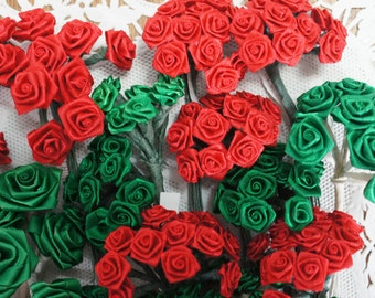 Lot of Red and Green Ribbon Rose Millinery Flowers 262 Roses
