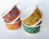 Vintage Mugs Large Cups Coffee Latte Soup Ceramic Boho Decor Cafe Au Lait Set Of Four Bohenian Hippie Flower Power