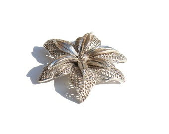 BSK Filigree Brooch- 1950s Fashion- Flower Pin- StarFish Brooch- Silver Layered Pin- Floral Brooch- Mid Century Pin- Star Pin- BSK Jewelry