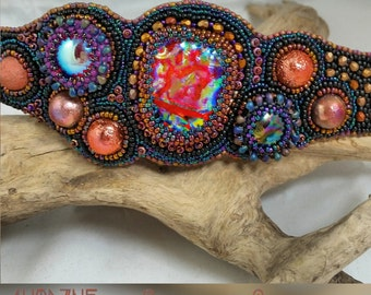 SUNSET at the LAKE HOUSE :Bead Embroidered Cuff