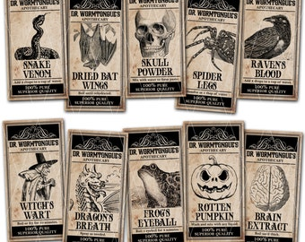 Halloween Apothecary Labels, Magical Potions, Halloween Printable, Instant Download, Print Your Own