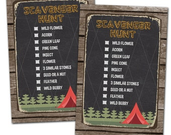 Camping Scavenger Hunt Card - Camping Party - Boy Scout - Girl Scout - Instant Download - Print Your Own