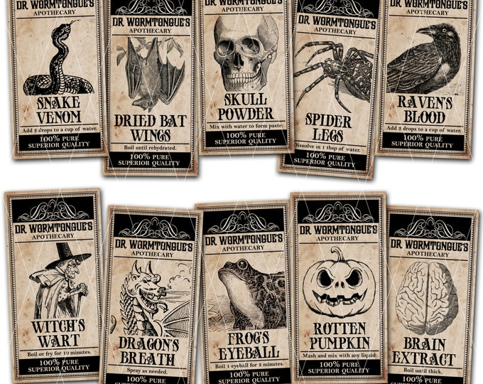 Halloween Apothecary Labels, Magical Potion Labels, Halloween Party Tags, Witches Brew Ingredient Labels - Instant Download
