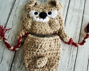 Bulldog Mascot Hat - Baby Bulldog Hat and Cover - Baby Bulldog Costume - School Mascot hat - Baby Dog Hat - by JoJosBootique
