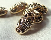 5pc Non-Tarnish Gold Filigree Scroll Pattern Hollow Oval Spacer Beads 27mm long, package of 5