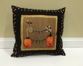 SALE, Halloween Pillow, Trick or Treat, Pumpkin, Black Cat