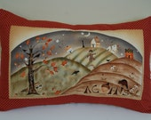 Harvest Town Pillow, Primitive, Fall, Thanksgiving, Acorns
