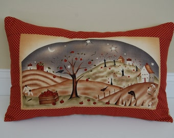 Harvest Town Pillow, Primitive, Fall, Thanksgiving, Apples